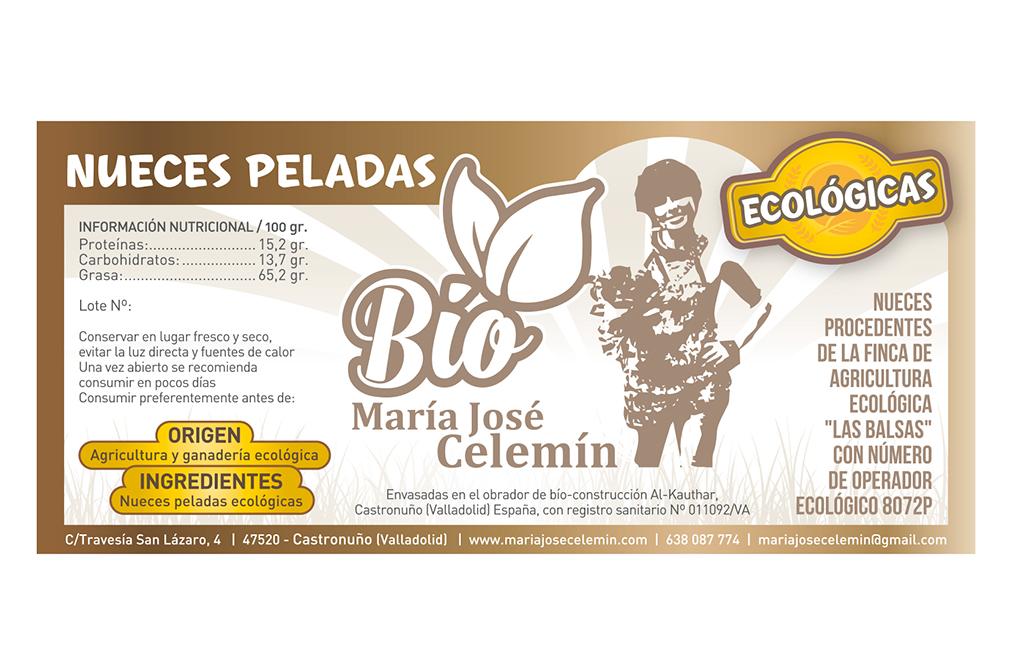 Diseño de etiquetas para envase de nueces ecológicas